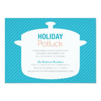BLUE CROCK POT   HOLIDAY POTLUCK INVITATIONS