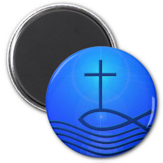 Blue cross and fish ( Ichthus) Magnet