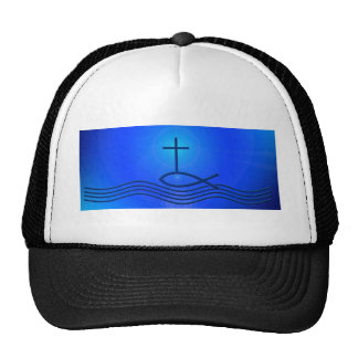 Blue cross and fish ( Ichthus) Trucker Hat
