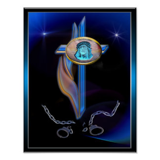 Blue cross art poster