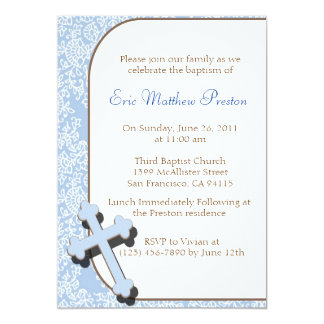 Blue Cross Baptism/Christening Invitation