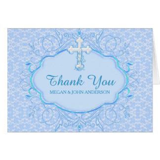 Blue Cross Baptism Christening Thank You Card