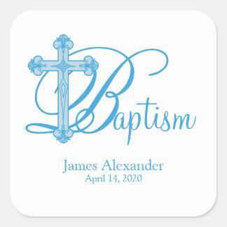 blue cross BAPTISM custom party favor label