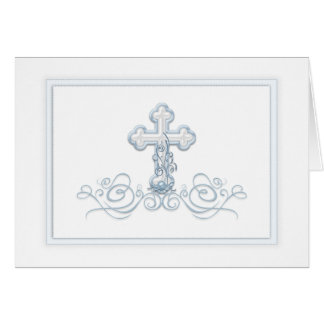 Blue Cross Baptism First Communion Thank You Cards