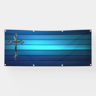 blue cross blue plank Long blank church Banner