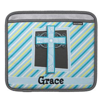 Blue Cross, Blue & Yellow Stripes iPad Sleeves