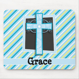 Blue Cross, Blue & Yellow Stripes Mouse Pad