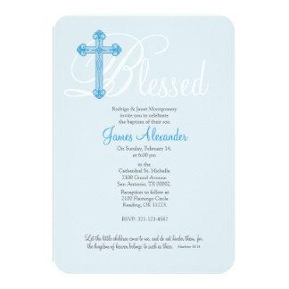 blue cross CHRISTENING baptism invitation