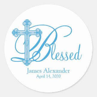 blue cross CHRISTENING custom party favor label Classic Round Sticker