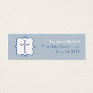 Blue Cross Communion Small Tag