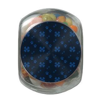 Blue Cross Dog bones and Paw prints Glass Candy Jar