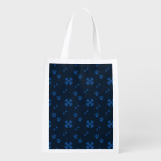 Blue Cross Dog bones and Paw prints Grocery Bag