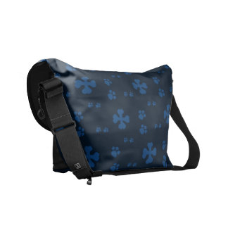 Blue Cross Dog bones and Paw prints Courier Bags
