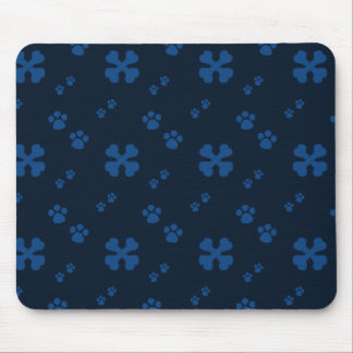 Blue Cross Dog bones and Paw prints Mouse Pad
