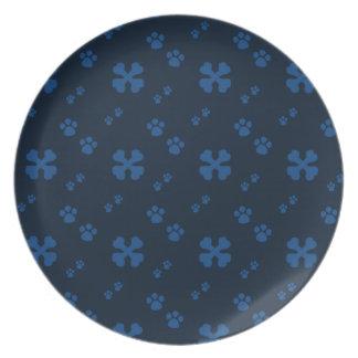 Blue Cross Dog bones and Paw prints Dinner Plates
