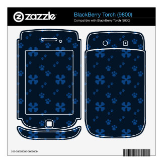 Blue Cross Dog bones and Paw prints Decals For BlackBerry