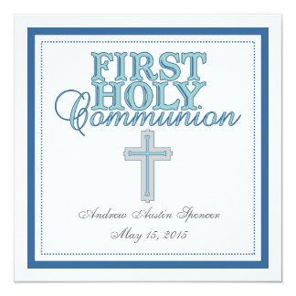Blue Cross First Holy Communion Invitation