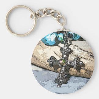 Blue Cross Keychain