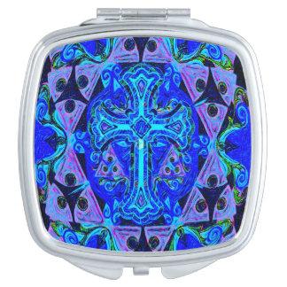 Blue Cross Pattern Makeup Mirror