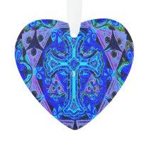 Blue Cross Pattern Ornament