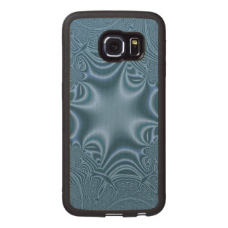 Blue cross pattern wood phone case