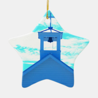 """Blue Cross"" Photo~ church steeple, Boca Grand Fl Ceramic Ornament"