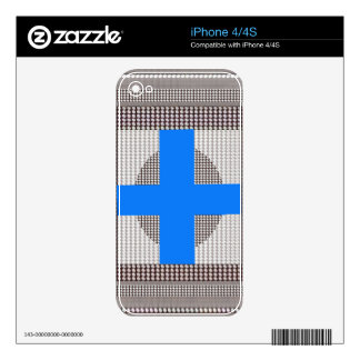 BLUE Cross Sparkle White Crystal Beads Gifts chr Skins For iPhone 4S