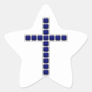 Blue Cross Star Sticker