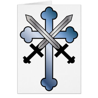 blue cross with crossed swords greeting card