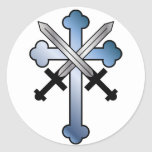 blue cross with crossed swords classic round sticker