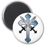 blue cross with crossed swords magnet