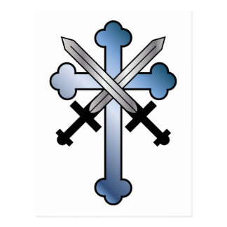 blue cross with crossed swords postcard