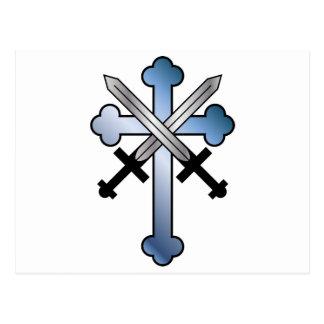 blue cross with crossed swords postcard