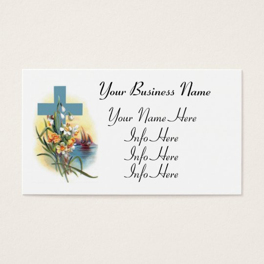Blue Cross With Flowers And Boats Business Card