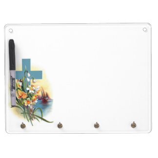 Blue Cross With Flowers And Boats Dry Erase Board