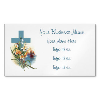 Blue Cross With Flowers And Boats Magnetic Business Card