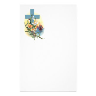 Blue Cross With Flowers And Boats Stationery