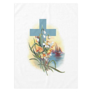 Blue Cross With Flowers And Boats Tablecloth