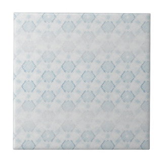 Blue Crosshatch Ceramic Tile