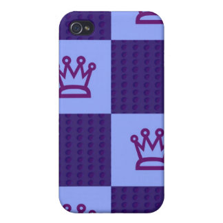 Blue Crown Checkered Print iPhone Case 4 iPhone 4/4S Cases