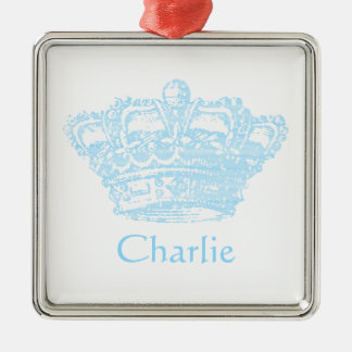 Blue Crown Metal Ornament