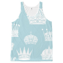 Blue Crown Pattern Tank