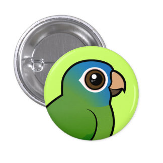 Blue-crowned Conure 1 Inch Round Button