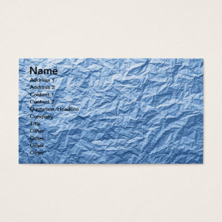 Blue Crumpled Paper Texture For Background Business Card
