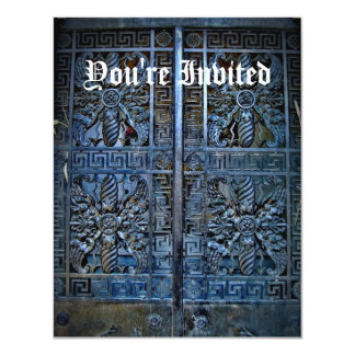 Blue crypt door invitations for your text