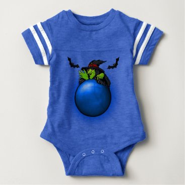 Halloween Themed Blue Crystal Ball Witch and Bats Baby Bodysuit
