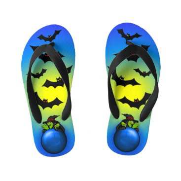 Halloween Themed Blue Crystal Ball Witch and Bats Kid's Flip Flops