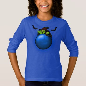 Halloween Themed Blue Crystal Ball Witch and Bats T-Shirt
