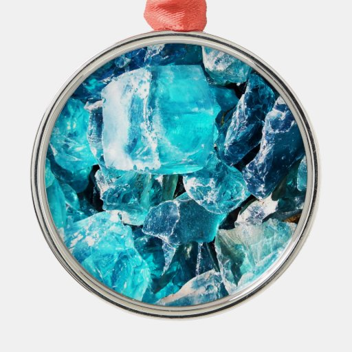 Blue Crystal Chunks Christmas Ornament