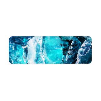 Blue Crystal Chunks Return Address Label